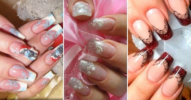 Зимний дизайн френч на длинные ногти