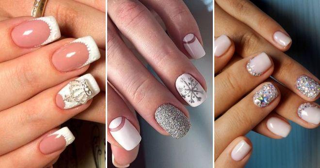 Зимний дизайн френч на короткие ногти блестящий