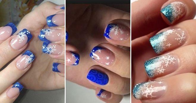 Зимний дизайн френч на короткие ногти синий