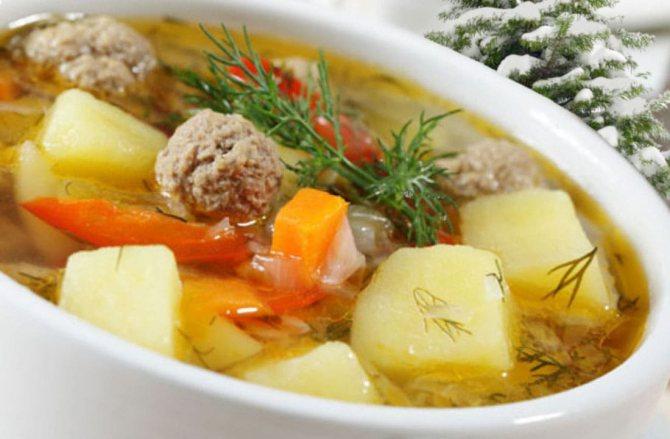 Зимняя диета Меню на неделю Суп с фрикадельками