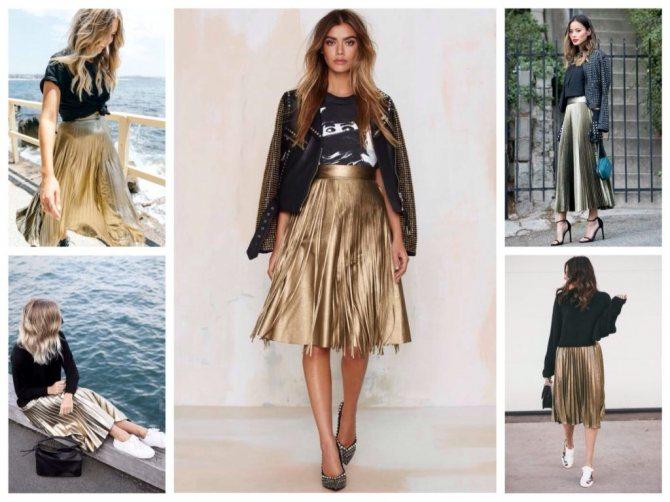 золотистая юбка плиссе