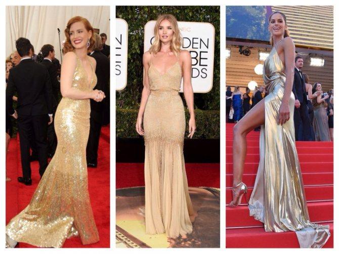 золотистые платья в V вырезом