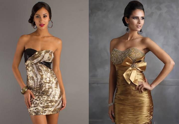 Золотое новогоднее платье 2019