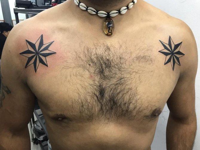 звезды на грудной клетке тату значение